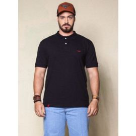 CAMISETA GOLA POLO LOGO II PL005 PRETO KING FARM frente